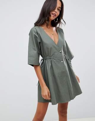 73bc08d0063 Asos Design DESIGN v front v back casual smock mini dress with buttons