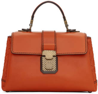 Bottega Veneta Orange Small Intrecciato Piazza Bag