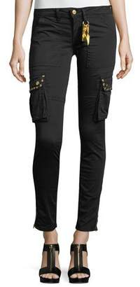 Robin's Jeans Military-Inspired Studded Skinny Stretch-Cotton Pants