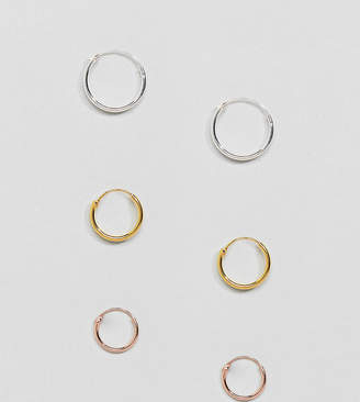 Kingsley Ryan 12mm Sterling Silver Gold Plated Hoop Earring Set