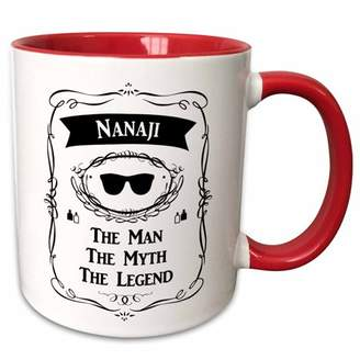 3dRose Nanaji The Man The Myth The Legend word for maternal grandpa - Two Tone Red Mug, 11-ounce