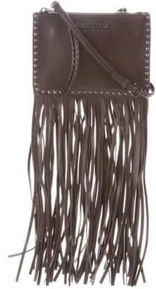 Miu Miu Leather Fringe-Trimmed Bag Brown Leather Fringe-Trimmed Bag