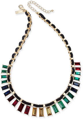 "INC International Concepts I.N.C. Gold-Tone Multicolor Baguette Crystal Velvet-Woven Statement Necklace, 18"" + 3"" extender, Created for Macy's"