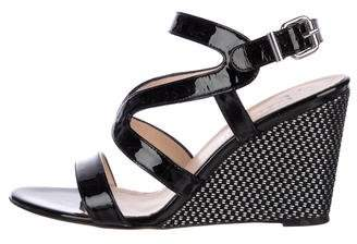 Aquatalia Patent Leather Wedge Sandals