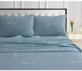 Marwah Corporation/tribeca Living Santa's Sleigh 170-gsm Cotton Flannel Printed Extra Deep Pocket Queen Sheet Set Bedding