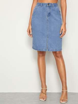 Shein Slit Hem Straight Denim Skirt