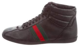 Gucci Web High-Top Sneakers w/ Tags
