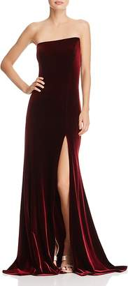 Aqua Asymmetric Strapless Velvet Gown - 100% Exclusive