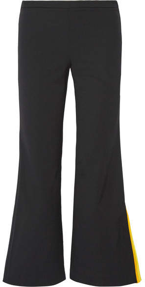 Emilio Pucci - Cropped Striped Silk-trimmed Wool-blend Flared Pants - Black
