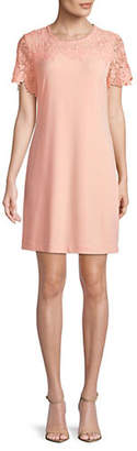 Karl Lagerfeld PARIS Floral Lace Short-Sleeve Dress