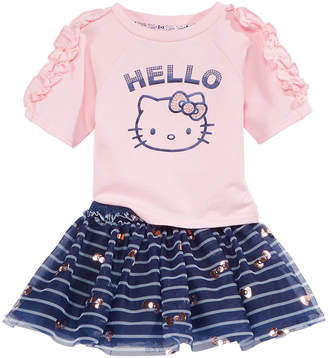 Hello Kitty 2-Pc. Ruched-Sleeve Top & Striped Skirt Set, Baby Girls