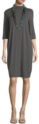 Eileen Fisher 3/4-Sleeve Lightweight Jersey Knee-Length Dress $198 thestylecure.com