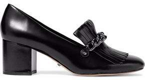 Schutz Chain-Embellished Fringed Glossed-Leather Loafers