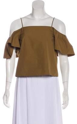 Fendi Cold-Shoulder Ruffle Sleeve Top