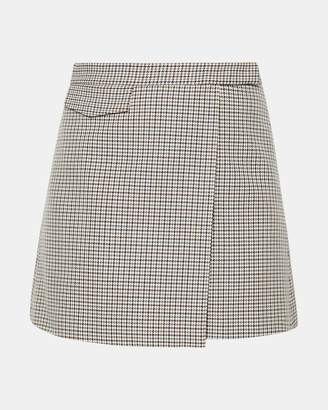 Theory Plaid Snap Mini Skirt