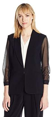 Nine West Women's Stretch Crepe Jacket with Mesh Sleeves