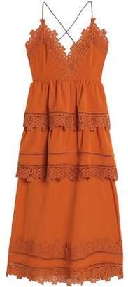 Self-Portrait Lace-Trimmed Cotton-Blend Crepe De Chine Midi Dress