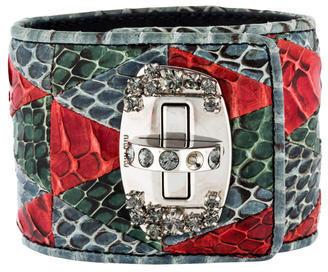 Miu MiuMiu Miu Python Leather Crystal Cuff Bracelet