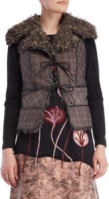 Save The Queen Plaid Faux Fur-Lined Vest