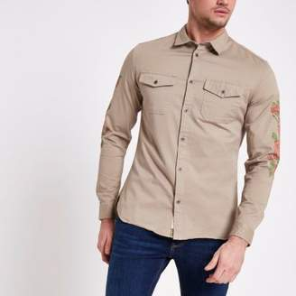 River Island Mens Stone floral sleeve muscle fit military shirt