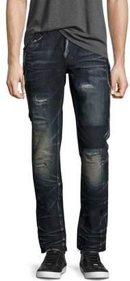 PRPS Demon Dark Wash Slim Jeans with Zipper, Fossil