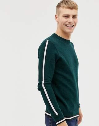 Kiomi jumper in green with white side stripe