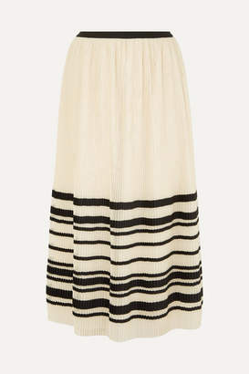 RED Valentino Pleated Striped Tulle Midi Skirt - Cream