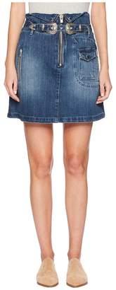 The Kooples Denim Skirt with A Western Buckle Women's Skirt