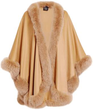 Sofia Cashmere Cashmere Cape With Fox Fur Trim
