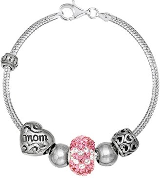 """Individuality Beads Crystal Sterling Silver """"Mom"""" Bead Snake Chain Bracelet"""
