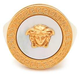 Versace Medusa Mother Of Pearl Signet Ring - Womens - Pearl