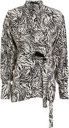 Proenza Schouler Zebra-Printed Wrap Blouse