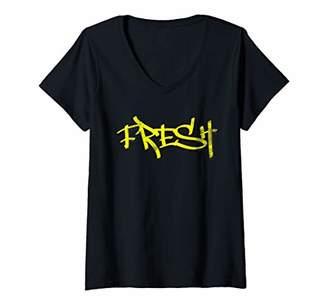 Womens Fresh Yellow Street Hip Hop Urban V-Neck T-Shirt