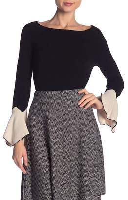 Nic+Zoe Crystal Contrast Cuff Sweater