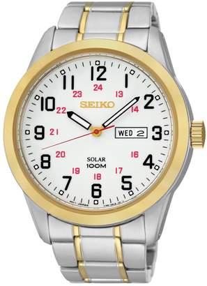 Seiko Men's Two Tone Stainless Steel Solar Watch - SNE370