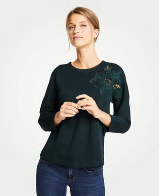 Ann Taylor Cutout Embroidered Sweatshirt