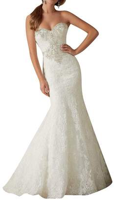 Lava-ring Women's Sweetheart Beading Covered Button Lace Mermaid Wedding Dress US