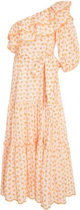 Lisa Marie Fernandez Arden Belted Double Ruffle Cotton Eyelet Dress