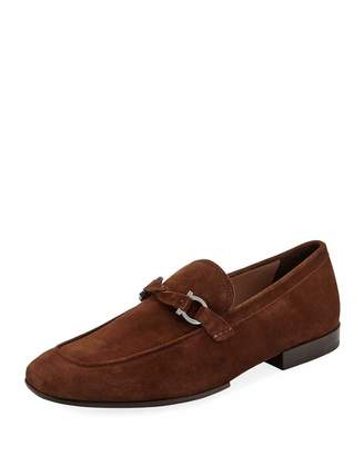 Salvatore Ferragamo Men's Barry Suede Rubber-Sole Gancini Loafer, Brown