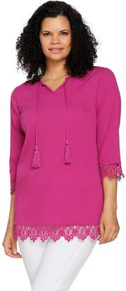 Denim & Co. Tie Front Gauze Tunic with Lace Trim Detail