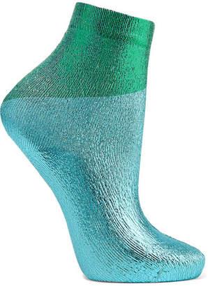 Maria La Rosa Two-tone Metallic Silk-blend Socks - Turquoise