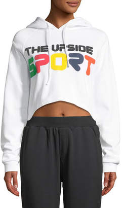 The Upside Holly Cropped Fleece Logo-Print Hoodie