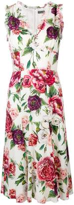 Dolce & Gabbana rose printed flared dress