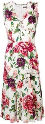 Dolce & Gabbana rose printed flared dress
