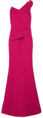 Roland Mouret Azul One-shoulder Wool-crepe Gown - Bright pink