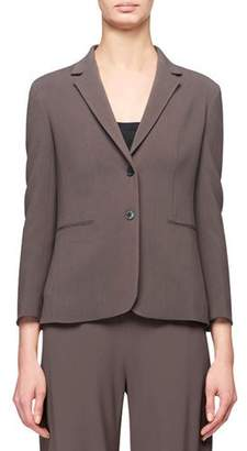 The Row Lobton Bracelet-Sleeve Stretch-Cotton Blazer, Gray