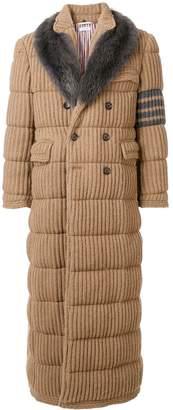 Thom Browne 4-Bar Fur Collar Camel Chesterfield