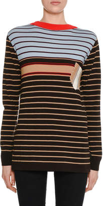 Marni Crewneck Long-Sleeve Striped Wool-Knit Sweater w/ Pocket Detail