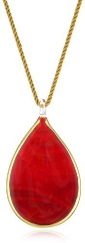 Yummi Glass 24k Gold-Painted Murano Glass Coral-Color Large Pear Pendant Necklace