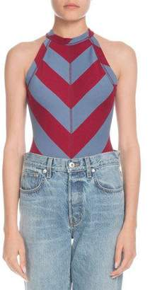 PSWL High-Neck Chevron Sleeveless Bodysuit